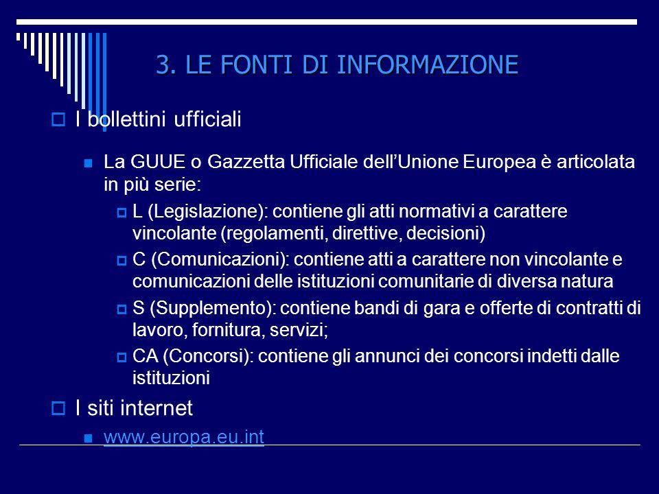 I bollettini ufficiali La GUUE o Gazzetta Ufficiale dellUnione Europea è articolata in più serie: L (Legislazione): contiene gli atti normativi a cara