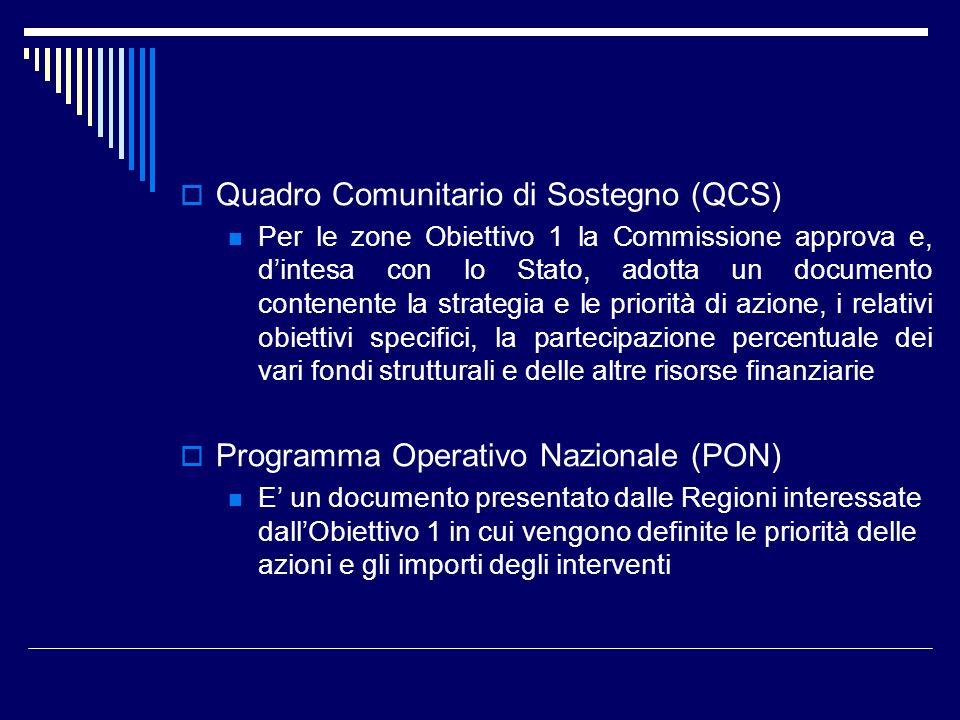 Quadro Comunitario di Sostegno (QCS) Per le zone Obiettivo 1 la Commissione approva e, dintesa con lo Stato, adotta un documento contenente la strateg