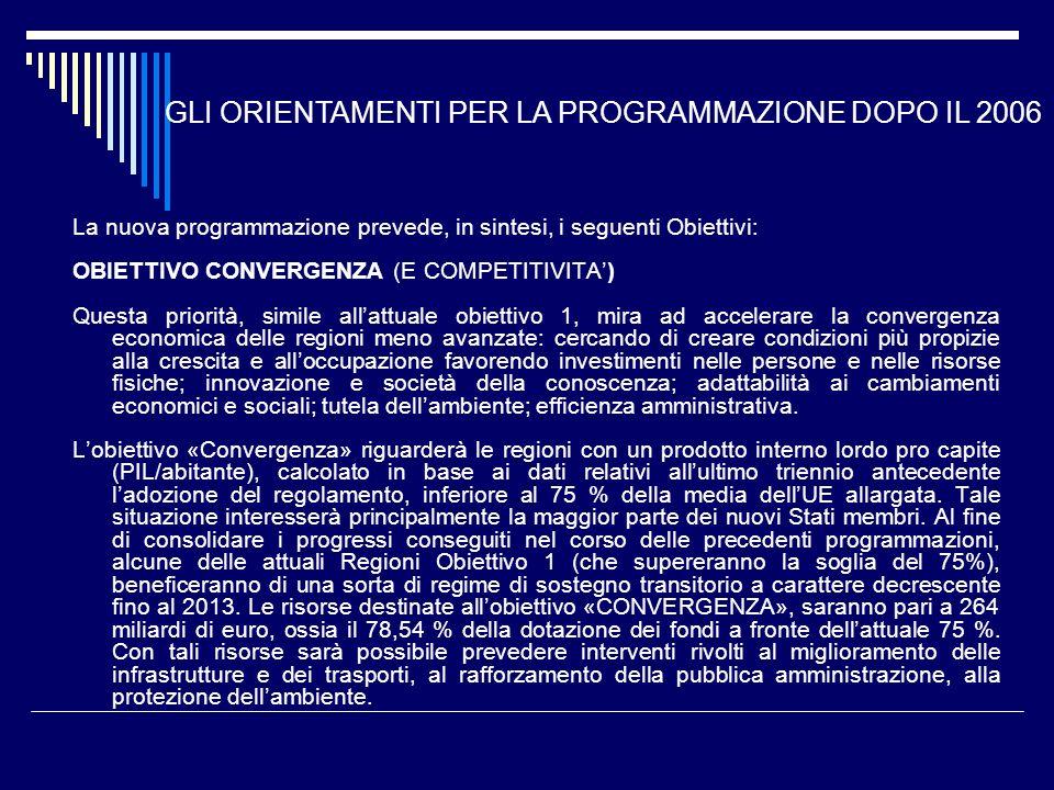La nuova programmazione prevede, in sintesi, i seguenti Obiettivi: OBIETTIVO CONVERGENZA (E COMPETITIVITA) Questa priorità, simile allattuale obiettiv