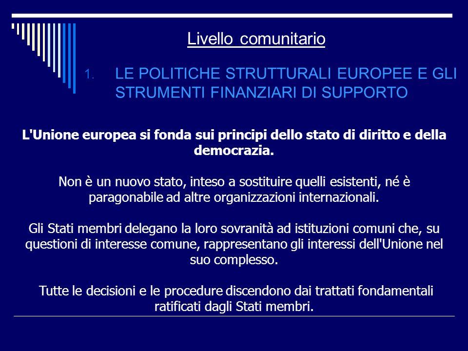 Livello comunitario 1. LE POLITICHE STRUTTURALI EUROPEE E GLI STRUMENTI FINANZIARI DI SUPPORTO L'Unione europea si fonda sui principi dello stato di d