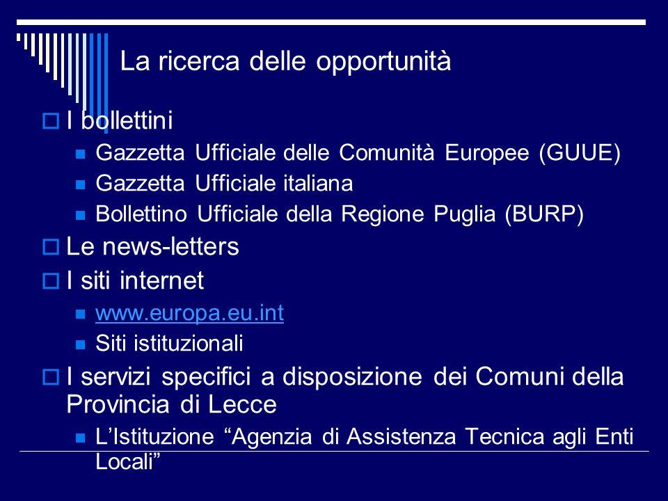 La ricerca delle opportunità I bollettini Gazzetta Ufficiale delle Comunità Europee (GUUE) Gazzetta Ufficiale italiana Bollettino Ufficiale della Regi