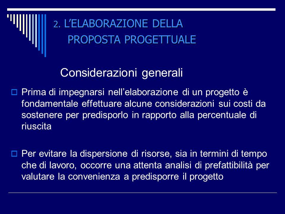 Considerazioni generali Prima di impegnarsi nellelaborazione di un progetto è fondamentale effettuare alcune considerazioni sui costi da sostenere per