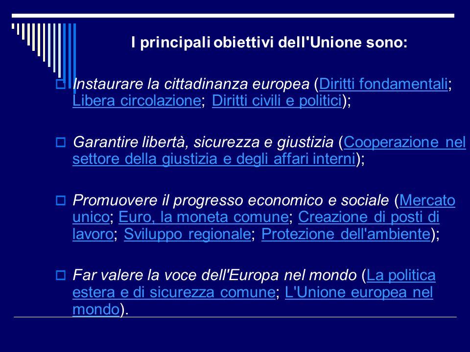 I principali obiettivi dell'Unione sono: Instaurare la cittadinanza europea (Diritti fondamentali; Libera circolazione; Diritti civili e politici);Dir