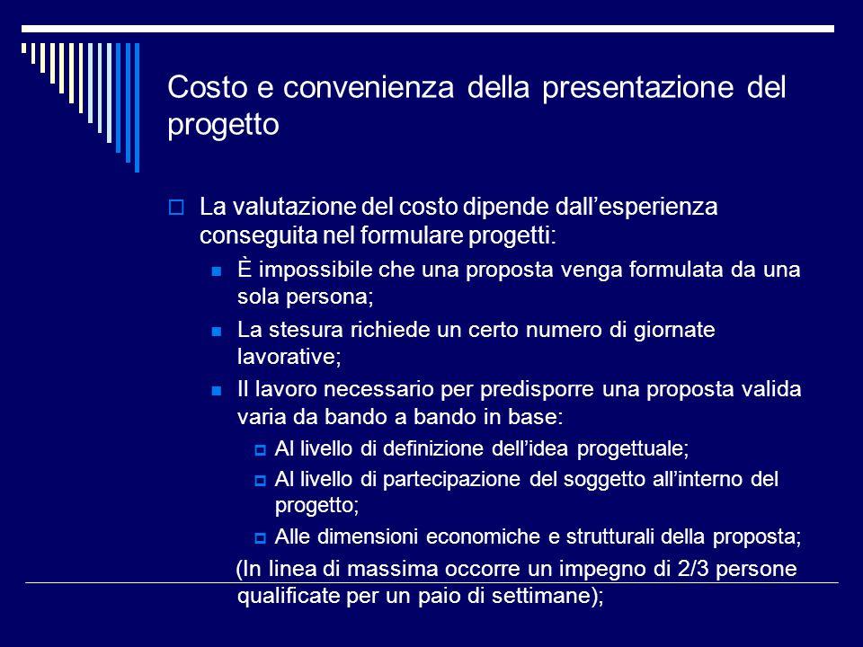 Costo e convenienza della presentazione del progetto La valutazione del costo dipende dallesperienza conseguita nel formulare progetti: È impossibile