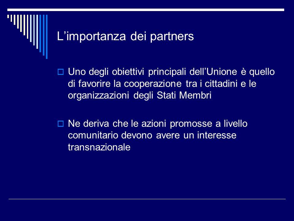 Limportanza dei partners Uno degli obiettivi principali dellUnione è quello di favorire la cooperazione tra i cittadini e le organizzazioni degli Stat