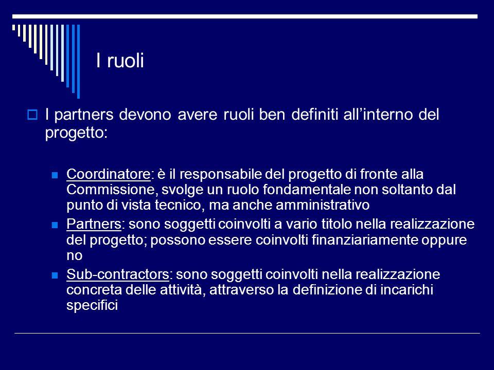 I ruoli I partners devono avere ruoli ben definiti allinterno del progetto: Coordinatore: è il responsabile del progetto di fronte alla Commissione, s