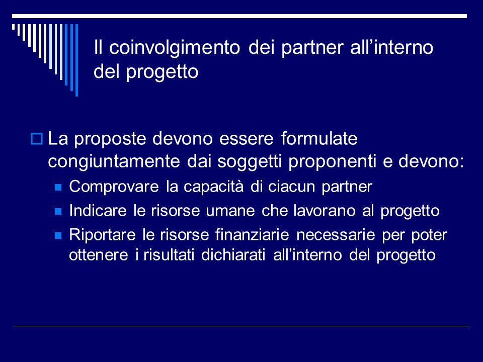 Il coinvolgimento dei partner allinterno del progetto La proposte devono essere formulate congiuntamente dai soggetti proponenti e devono: Comprovare
