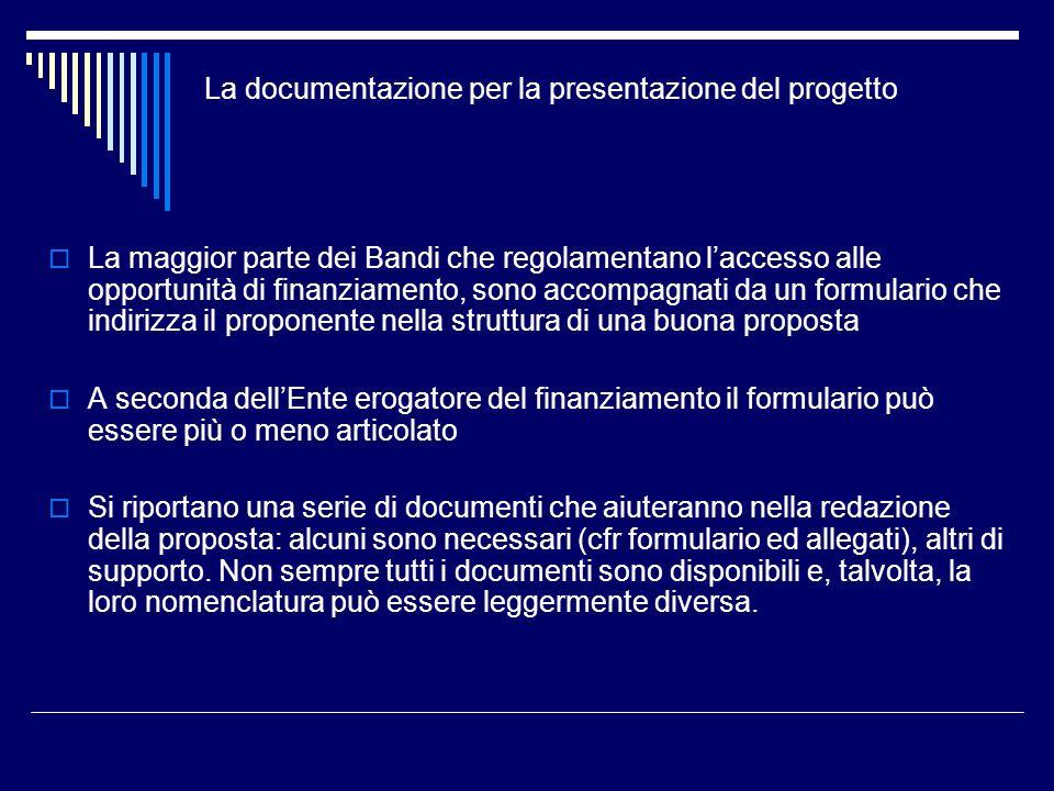 La maggior parte dei Bandi che regolamentano laccesso alle opportunità di finanziamento, sono accompagnati da un formulario che indirizza il proponent