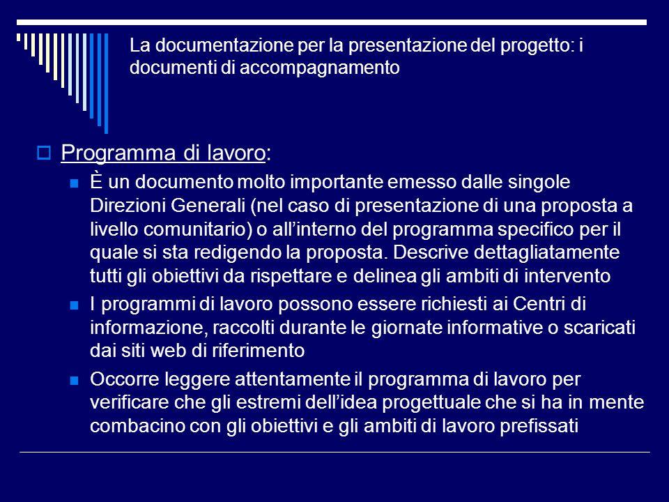 Programma di lavoro: È un documento molto importante emesso dalle singole Direzioni Generali (nel caso di presentazione di una proposta a livello comu