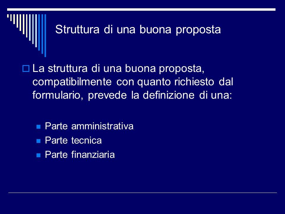 Struttura di una buona proposta La struttura di una buona proposta, compatibilmente con quanto richiesto dal formulario, prevede la definizione di una