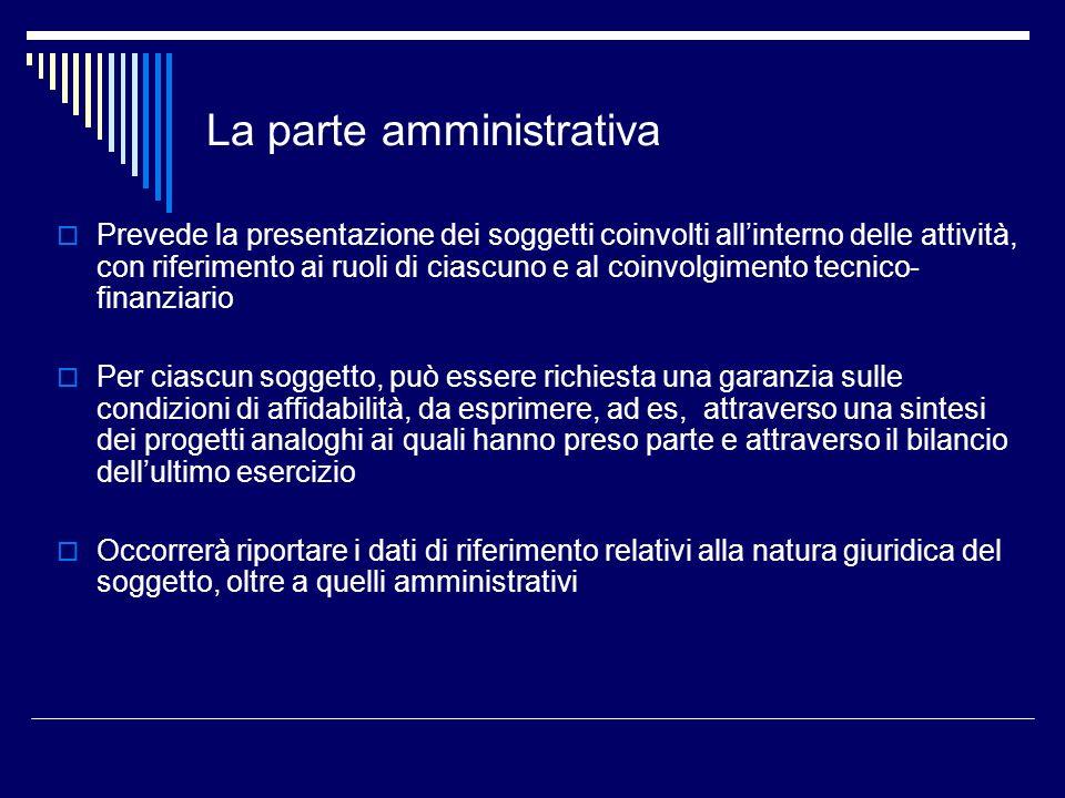 La parte amministrativa Prevede la presentazione dei soggetti coinvolti allinterno delle attività, con riferimento ai ruoli di ciascuno e al coinvolgi