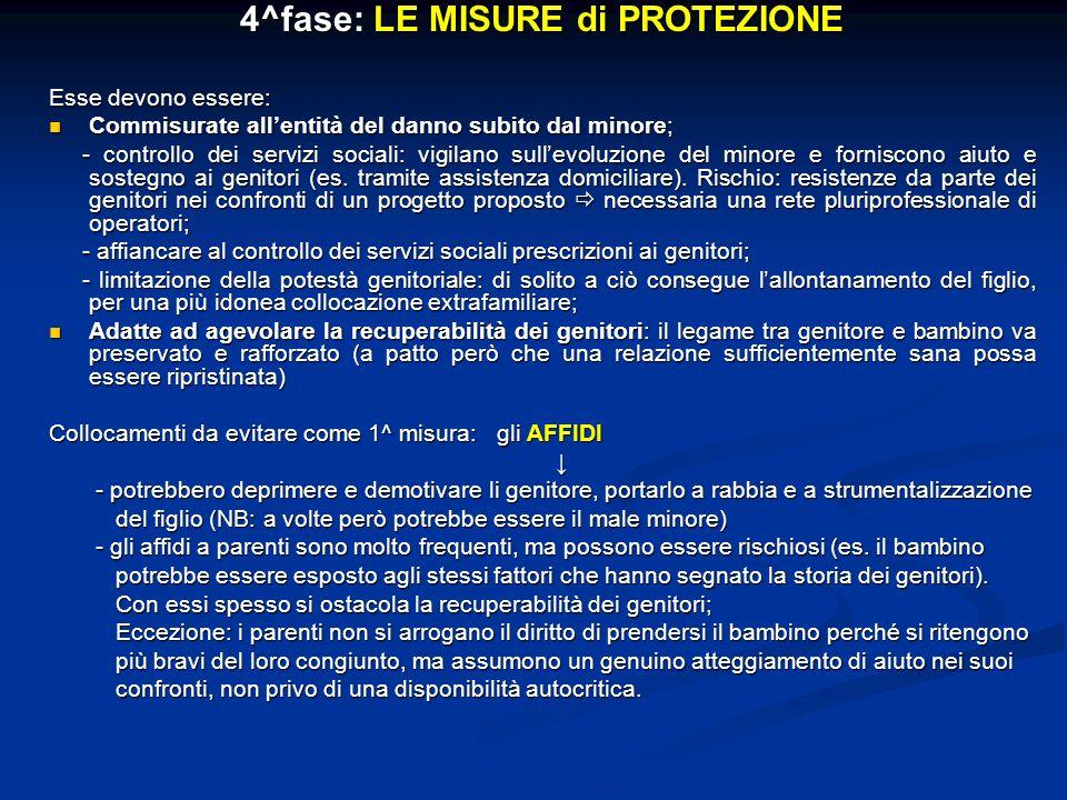 4^fase: LE MISURE di PROTEZIONE Esse devono essere: Commisurate allentità del danno subito dal minore; Commisurate allentità del danno subito dal mino
