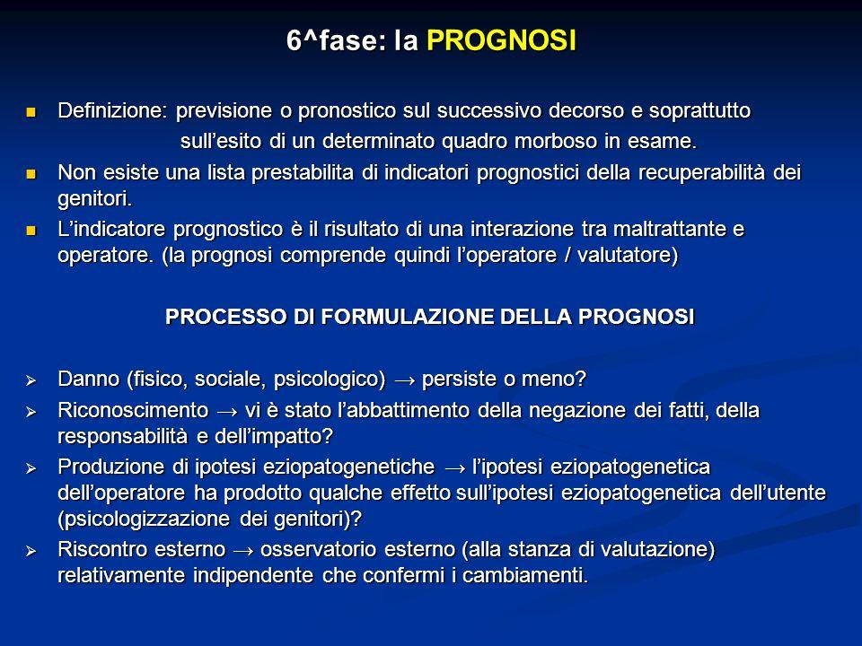 6^fase: la PROGNOSI Definizione: previsione o pronostico sul successivo decorso e soprattutto Definizione: previsione o pronostico sul successivo deco