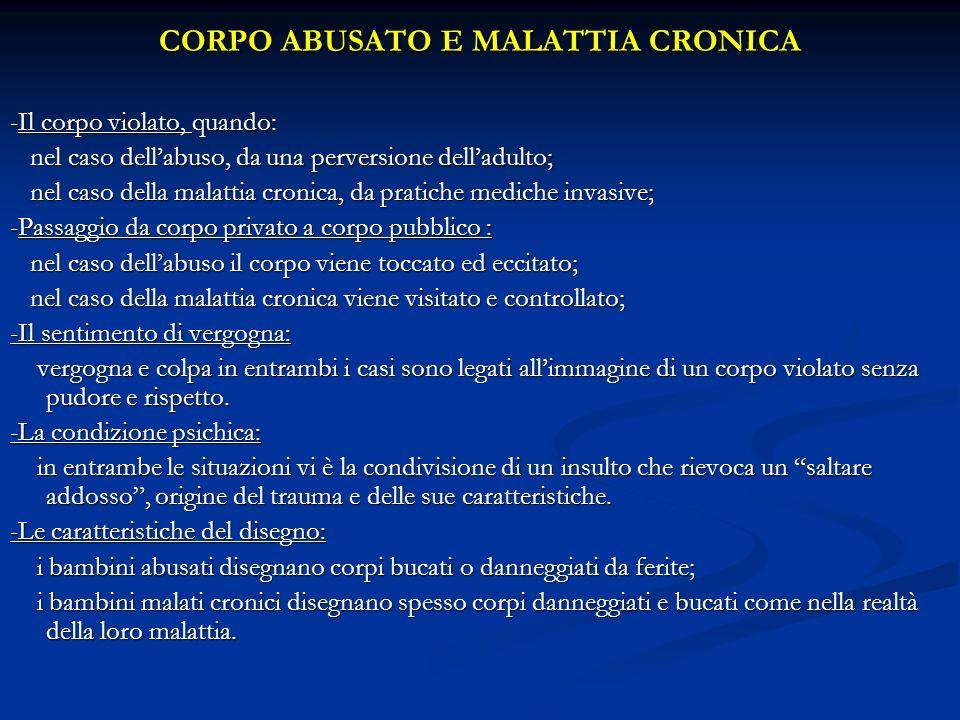 CORPO ABUSATO E MALATTIA CRONICA -Il corpo violato, quando: nel caso dellabuso, da una perversione delladulto; nel caso dellabuso, da una perversione