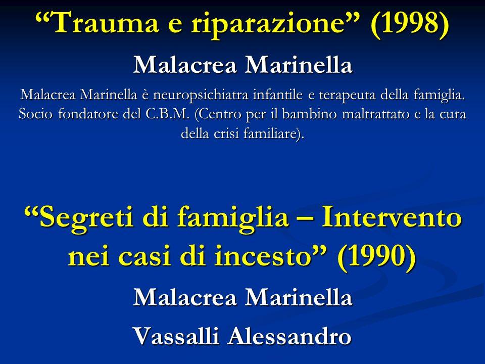 Trauma e riparazione (1998) Malacrea Marinella Malacrea Marinella è neuropsichiatra infantile e terapeuta della famiglia. Socio fondatore del C.B.M. (