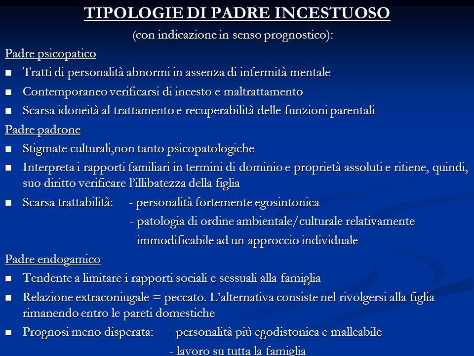 TIPOLOGIE DI PADRE INCESTUOSO ( con indicazione in senso prognostico): ( con indicazione in senso prognostico): Padre psicopatico Tratti di personalit
