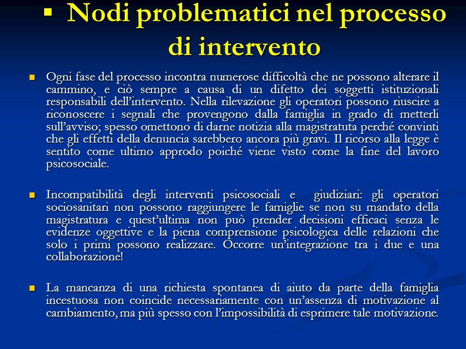 Nodi problematici nel processo di intervento Nodi problematici nel processo di intervento Ogni fase del processo incontra numerose difficoltà che ne p