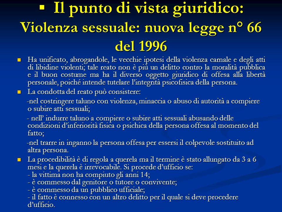Il punto di vista giuridico: Violenza sessuale: nuova legge n° 66 del 1996 Il punto di vista giuridico: Violenza sessuale: nuova legge n° 66 del 1996