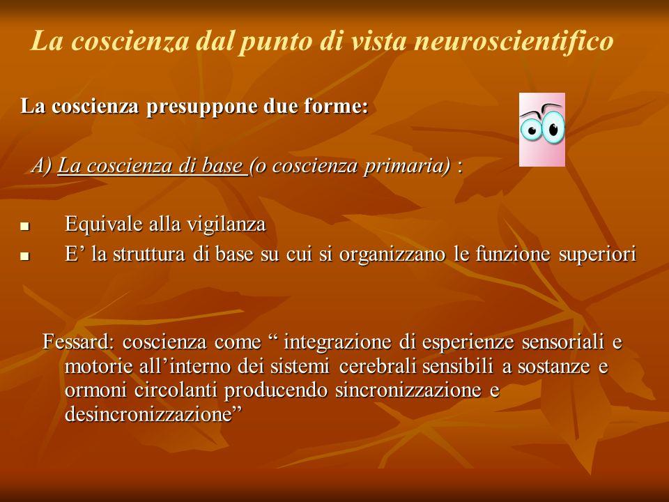 La coscienza dal punto di vista neuroscientifico La coscienza presuppone due forme: A) La coscienza di base (o coscienza primaria) : A) La coscienza d