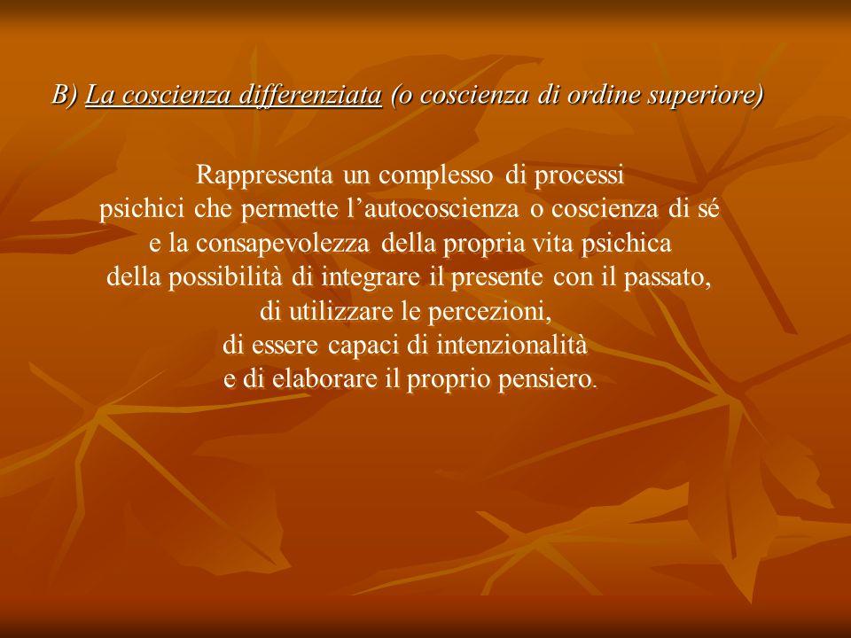 B) La coscienza differenziata (o coscienza di ordine superiore) Rappresenta un complesso di processi psichici che permette lautocoscienza o coscienza