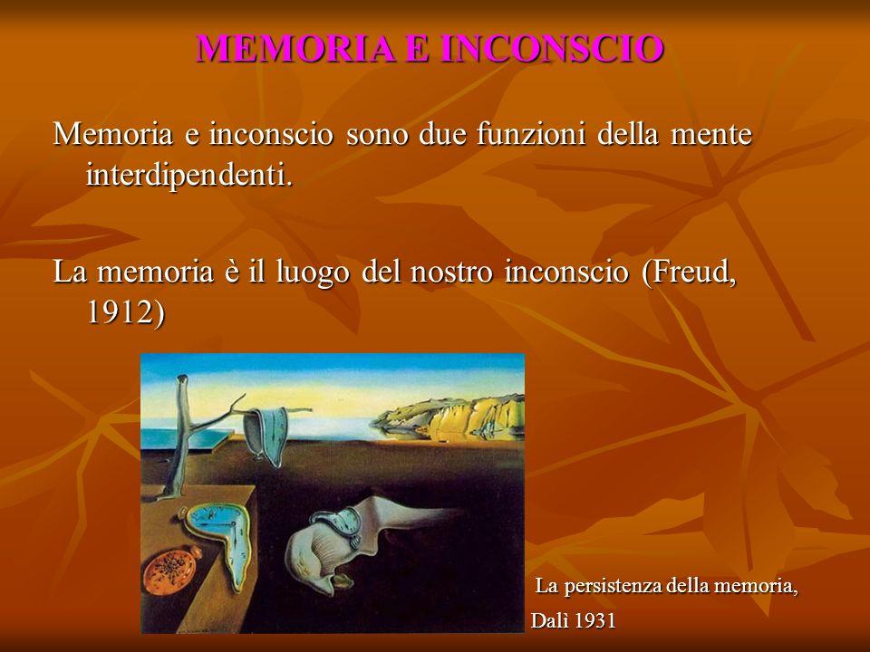 MEMORIA E INCONSCIO Memoria e inconscio sono due funzioni della mente interdipendenti. La memoria è il luogo del nostro inconscio (Freud, 1912) La per