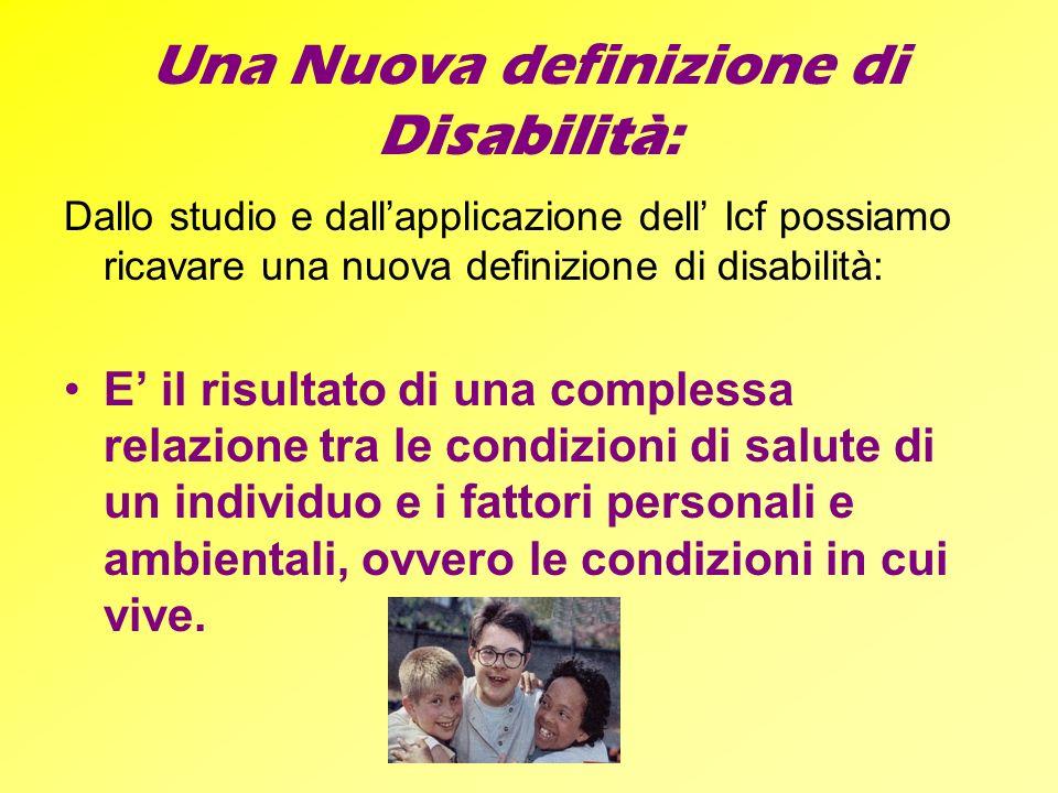 Una Nuova definizione di Disabilità: Dallo studio e dallapplicazione dell Icf possiamo ricavare una nuova definizione di disabilità: E il risultato di