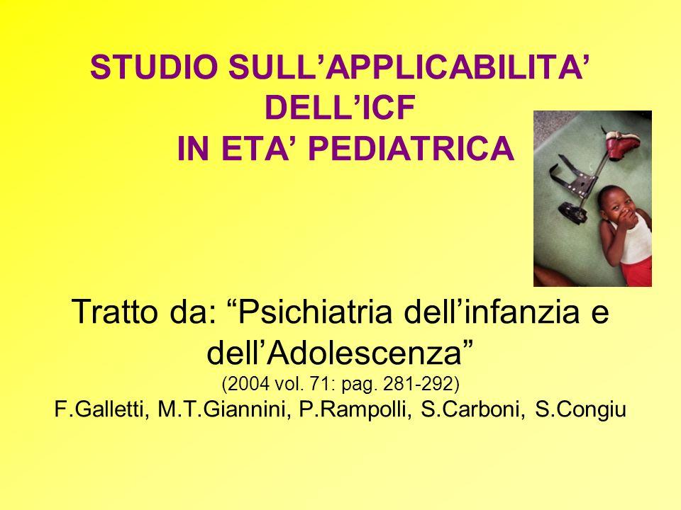STUDIO SULLAPPLICABILITA DELLICF IN ETA PEDIATRICA Tratto da: Psichiatria dellinfanzia e dellAdolescenza (2004 vol. 71: pag. 281-292) F.Galletti, M.T.