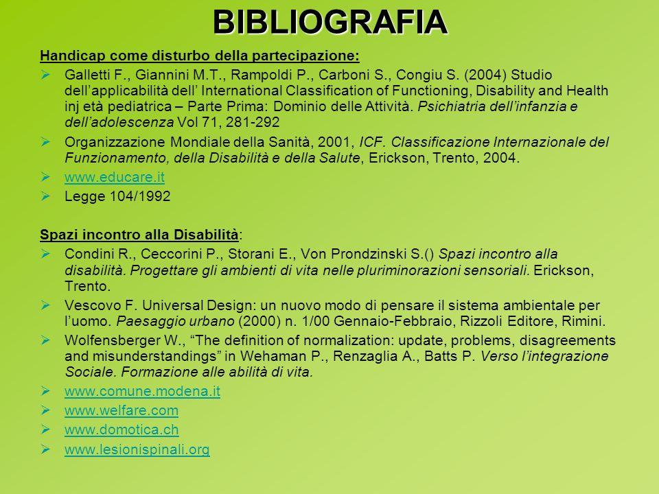 BIBLIOGRAFIA Handicap come disturbo della partecipazione: Galletti F., Giannini M.T., Rampoldi P., Carboni S., Congiu S. (2004) Studio dellapplicabili