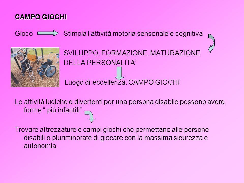 CAMPO GIOCHI GiocoStimola lattività motoria sensoriale e cognitiva SVILUPPO, FORMAZIONE, MATURAZIONE DELLA PERSONALITA Luogo di eccellenza: CAMPO GIOC