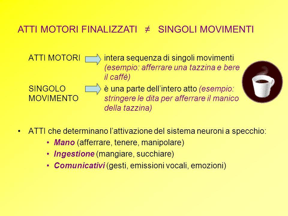 ATTI MOTORIintera sequenza di singoli movimenti (esempio: afferrare una tazzina e bere il caffè) SINGOLO è una parte dellintero atto (esempio: MOVIMEN