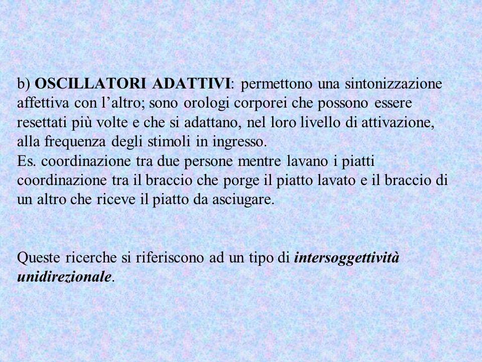 b) OSCILLATORI ADATTIVI: permettono una sintonizzazione affettiva con laltro; sono orologi corporei che possono essere resettati più volte e che si ad