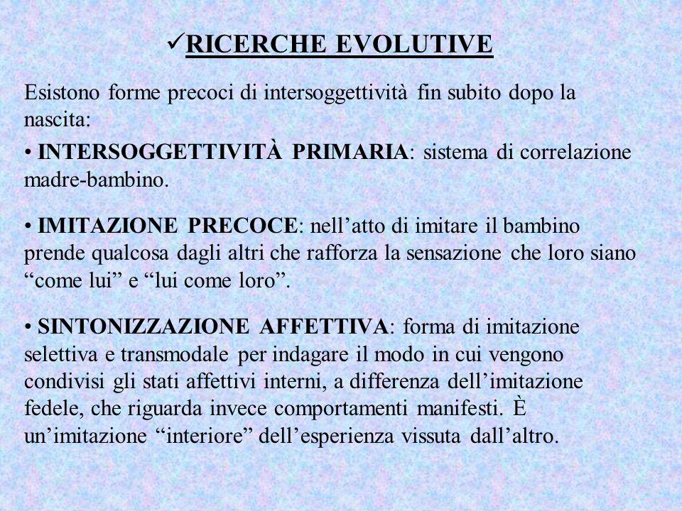RICERCHE EVOLUTIVE Esistono forme precoci di intersoggettività fin subito dopo la nascita: INTERSOGGETTIVITÀ PRIMARIA: sistema di correlazione madre-b