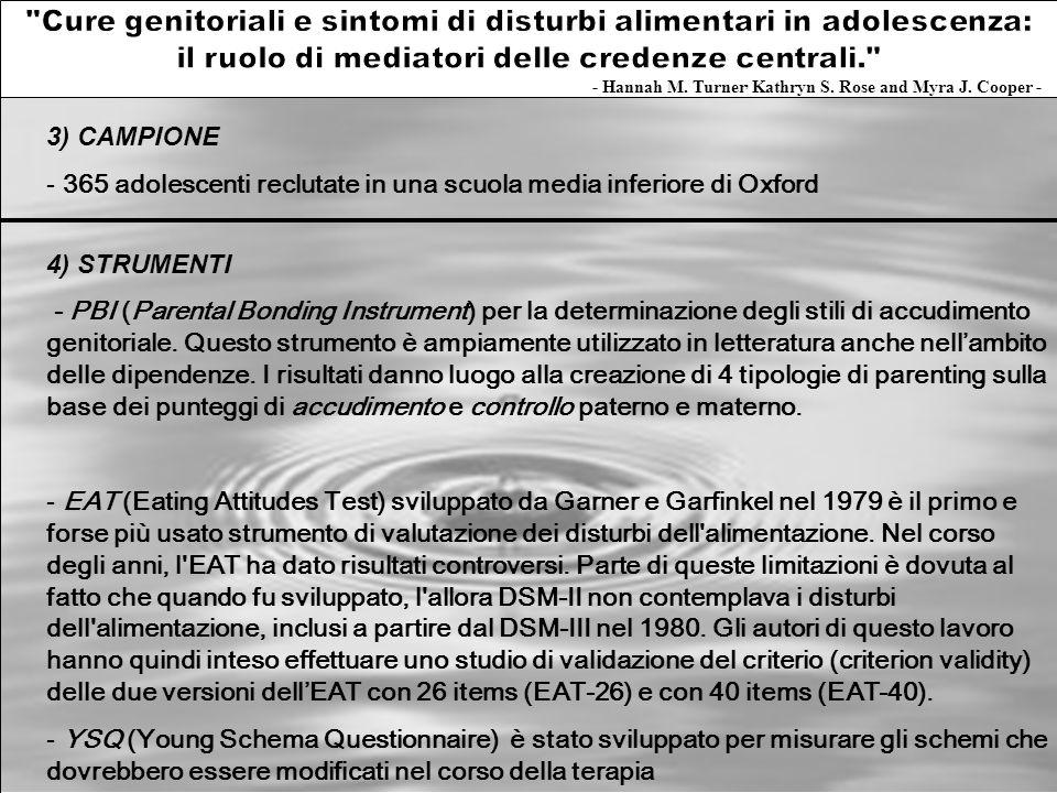 3) CAMPIONE - 365 adolescenti reclutate in una scuola media inferiore di Oxford 4) STRUMENTI PBI - PBI (Parental Bonding Instrument) per la determinaz