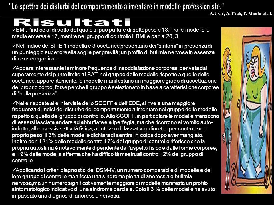 BMI: lindice al di sotto del quale si può parlare di sottopeso è 18. Tra le modelle la media emersa è 17, mentre nel gruppo di controllo il BMI è pari