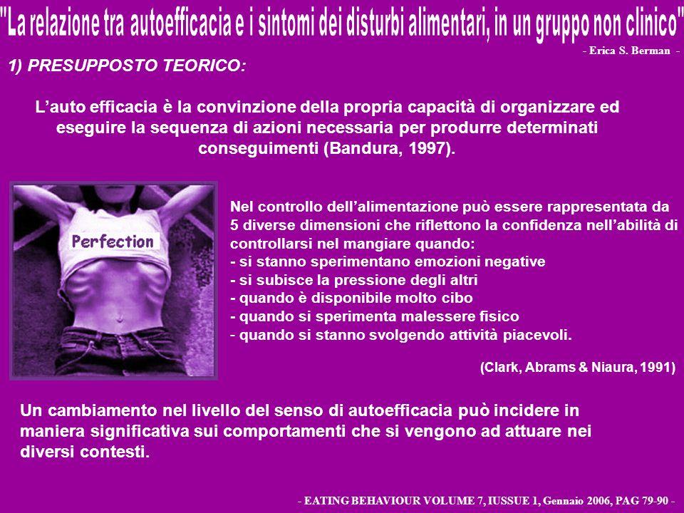 - Erica S. Berman - - EATING BEHAVIOUR VOLUME 7, IUSSUE 1, Gennaio 2006, PAG 79-90 - Nel controllo dellalimentazione può essere rappresentata da 5 div