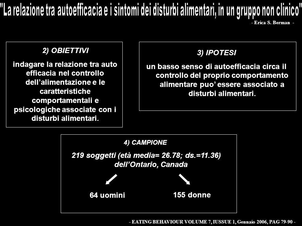 2) OBIETTIVI indagare la relazione tra auto efficacia nel controllo dellalimentazione e le caratteristiche comportamentali e psicologiche associate co