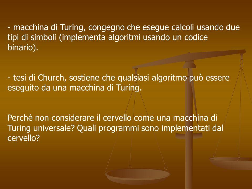 - macchina di Turing, congegno che esegue calcoli usando due tipi di simboli (implementa algoritmi usando un codice binario). - tesi di Church, sostie