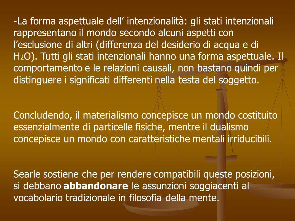 -La forma aspettuale dell intenzionalità: gli stati intenzionali rappresentano il mondo secondo alcuni aspetti con lesclusione di altri (differenza de