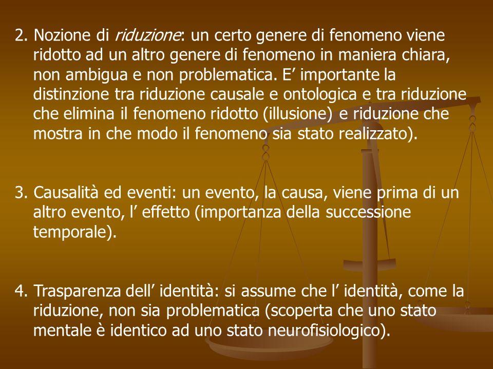 2. Nozione di riduzione: un certo genere di fenomeno viene ridotto ad un altro genere di fenomeno in maniera chiara, non ambigua e non problematica. E
