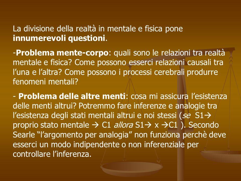 Per concludere Searle introduce il materialismoeliminativistico ossia lidea che gli stati mentali non esistano affatto.
