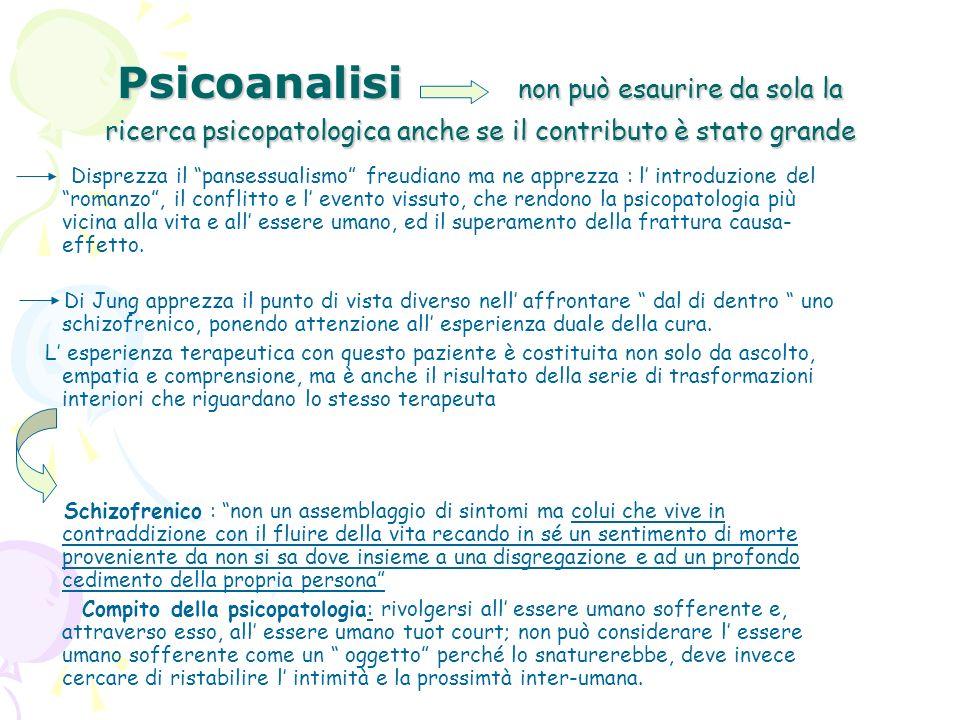Psicoanalisi non può esaurire da sola la ricerca psicopatologica anche se il contributo è stato grande Disprezza il pansessualismo freudiano ma ne app