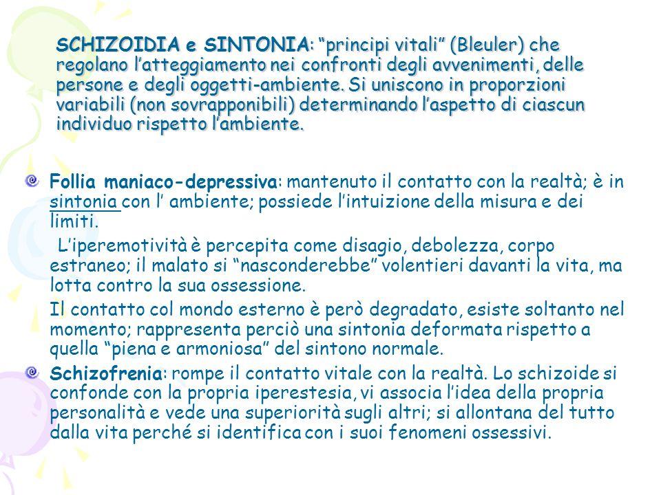 SCHIZOIDIA e SINTONIA: principi vitali (Bleuler) che regolano latteggiamento nei confronti degli avvenimenti, delle persone e degli oggetti-ambiente.