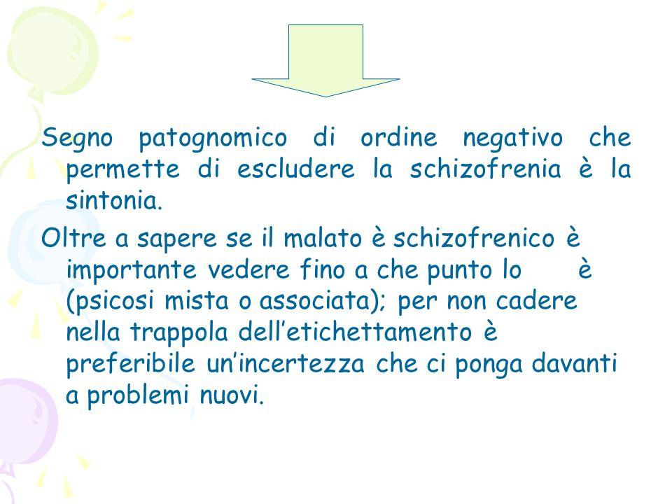 Segno patognomico di ordine negativo che permette di escludere la schizofrenia è la sintonia. Oltre a sapere se il malato è schizofrenico è importante