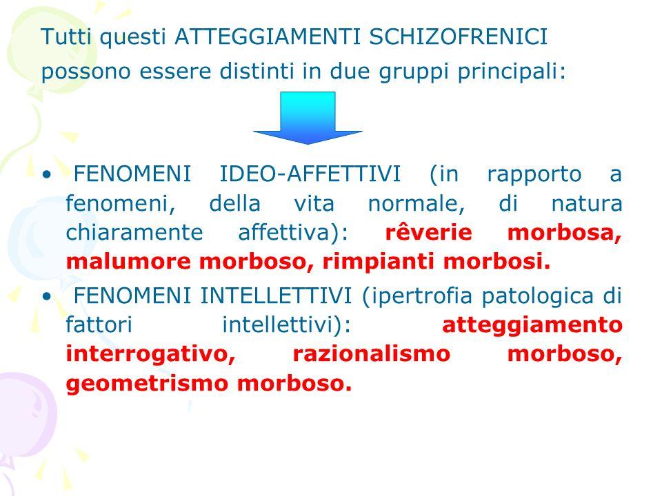 Tutti questi ATTEGGIAMENTI SCHIZOFRENICI possono essere distinti in due gruppi principali: FENOMENI IDEO-AFFETTIVI (in rapporto a fenomeni, della vita
