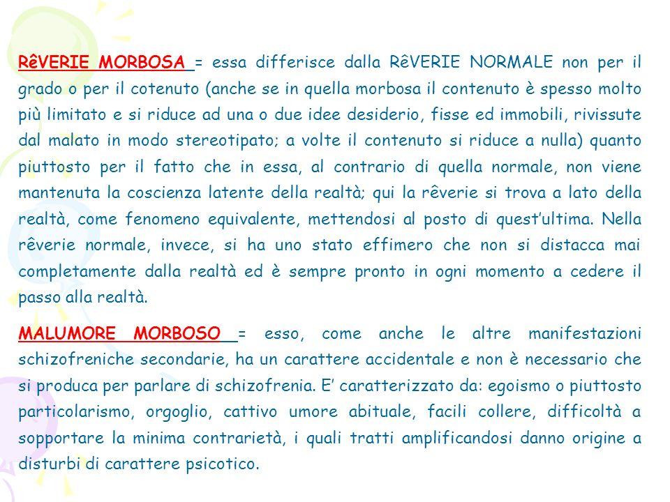 RêVERIE MORBOSA = essa differisce dalla RêVERIE NORMALE non per il grado o per il cotenuto (anche se in quella morbosa il contenuto è spesso molto più