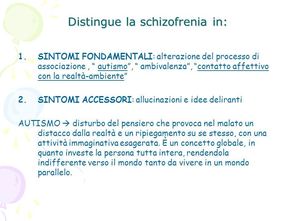 Distingue la schizofrenia in: 1.SINTOMI FONDAMENTALI: alterazione del processo di associazione, autismo, ambivalenza, contatto affettivo con la realtà