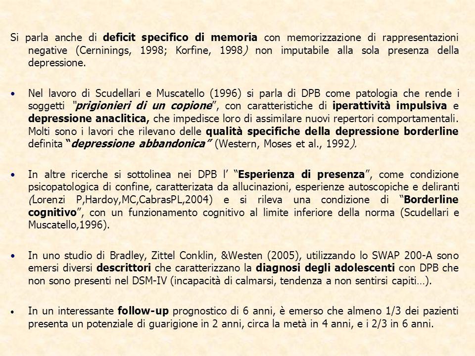 Si parla anche di deficit specifico di memoria con memorizzazione di rappresentazioni negative (Cerninings, 1998; Korfine, 1998) non imputabile alla s