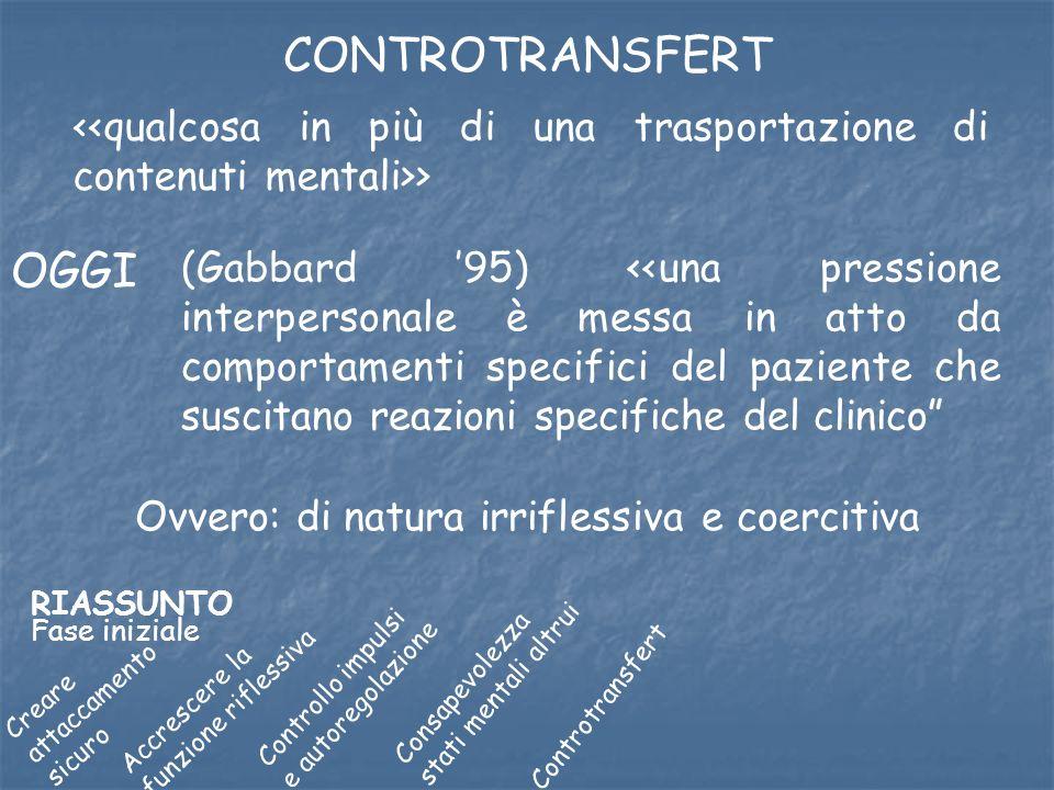 CONTROTRANSFERT > OGGI (Gabbard 95) <<una pressione interpersonale è messa in atto da comportamenti specifici del paziente che suscitano reazioni spec