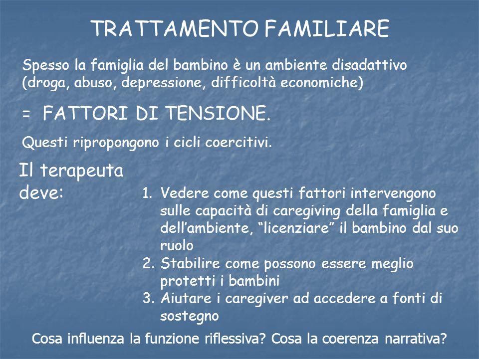 Spesso la famiglia del bambino è un ambiente disadattivo (droga, abuso, depressione, difficoltà economiche) = FATTORI DI TENSIONE. Questi ripropongono