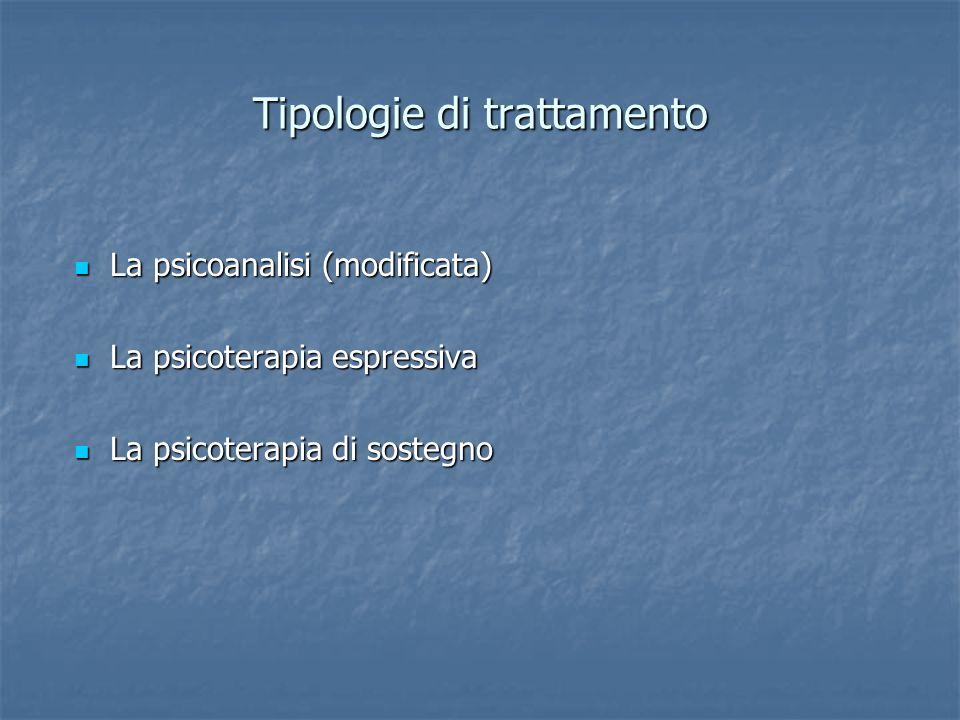 Tipologie di trattamento La psicoanalisi (modificata) La psicoanalisi (modificata) La psicoterapia espressiva La psicoterapia espressiva La psicoterap